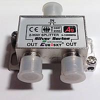 Делитель на 2 - 2WAY SPLITTER 5-1000MHz Eurosky + 3 F56 разъема.