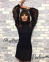 Платье - Сендитрикотаж , рукава сетка в горох