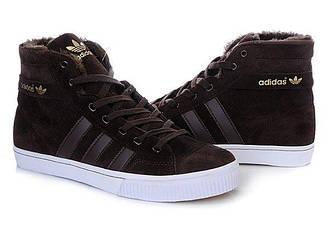 Мужские зимние кроссовки  Adidas AdiTennis High Fur Brown