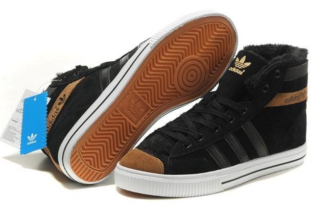 Оригинальные мужские зимние кроссовки Adidas AdiTennis High Fur Black Brown