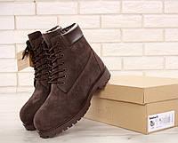 Мужские ботинки Timberland Classic Boots Brown в коричневом цвете натуральный мех, фото 1