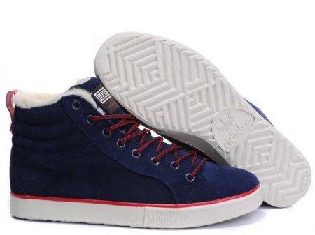 Оригинальные мужские зимние кроссовки Adidas Ransom Fur Blue Suede