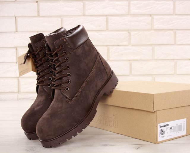 Ботинки Timberland Classic Boots коричневого цвета натуральных мех 100% живые фото