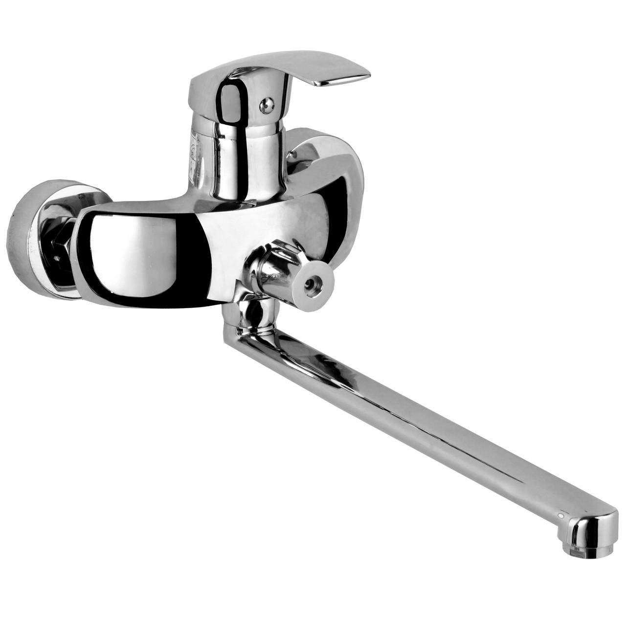 BARON смеситель для ванны однорычажный, переключатель ванна/душ встроен в корпус, L-излив 350 мм , х