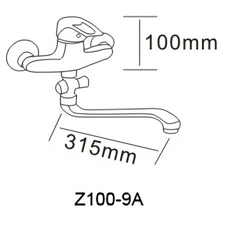 NARCIZ смеситель для ванны однорычажный, S-излив 350 мм, хром  40мм, фото 2