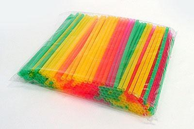 Трубочки разноцветные  прямые 12,5см 200шт