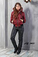 Новинка стеганный женский лыжный костюм на овчинке Phillipe Plein бордо 42 44 46 48, фото 1