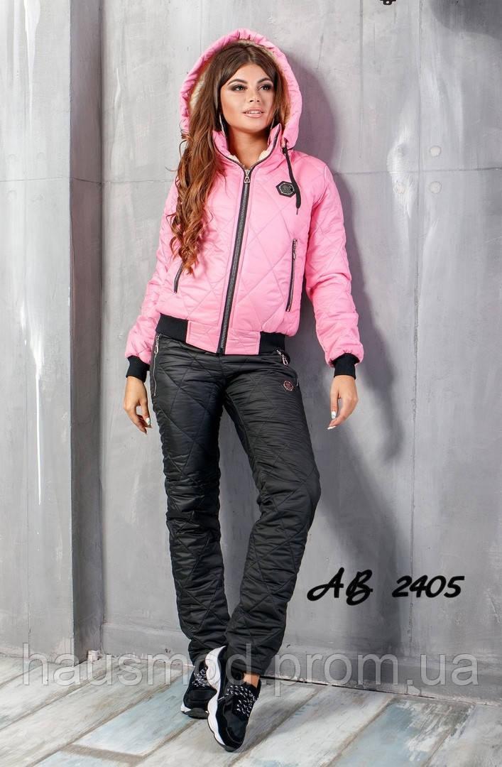 Новинка стеганный женский лыжный костюм на овчинке Phillipe Plein розовый 42 44 46 48