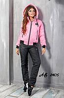 Новинка стеганный женский лыжный костюм на овчинке Phillipe Plein розовый 42 44 46 48, фото 1