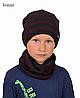 Комплект шапка+хомут полоска меланж. 4-12 ЛЕТ(Р.52-56 СМ)  в цвете бордо