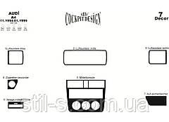 Наклейки на панель декоративные AUDI A4 B5 1994-1999 (7 предметов, алюминий)