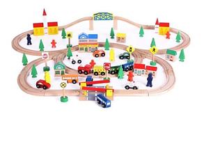 Деревянная железная дорога Wooden Toys 77CE-50556 100 елементов, фото 2
