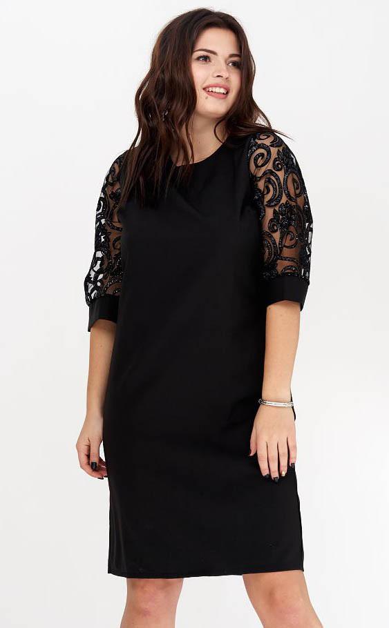 b2938e4a747 Вечернее платье черного цвета с кружевом на рукавах. Модель 20119. Размеры  50
