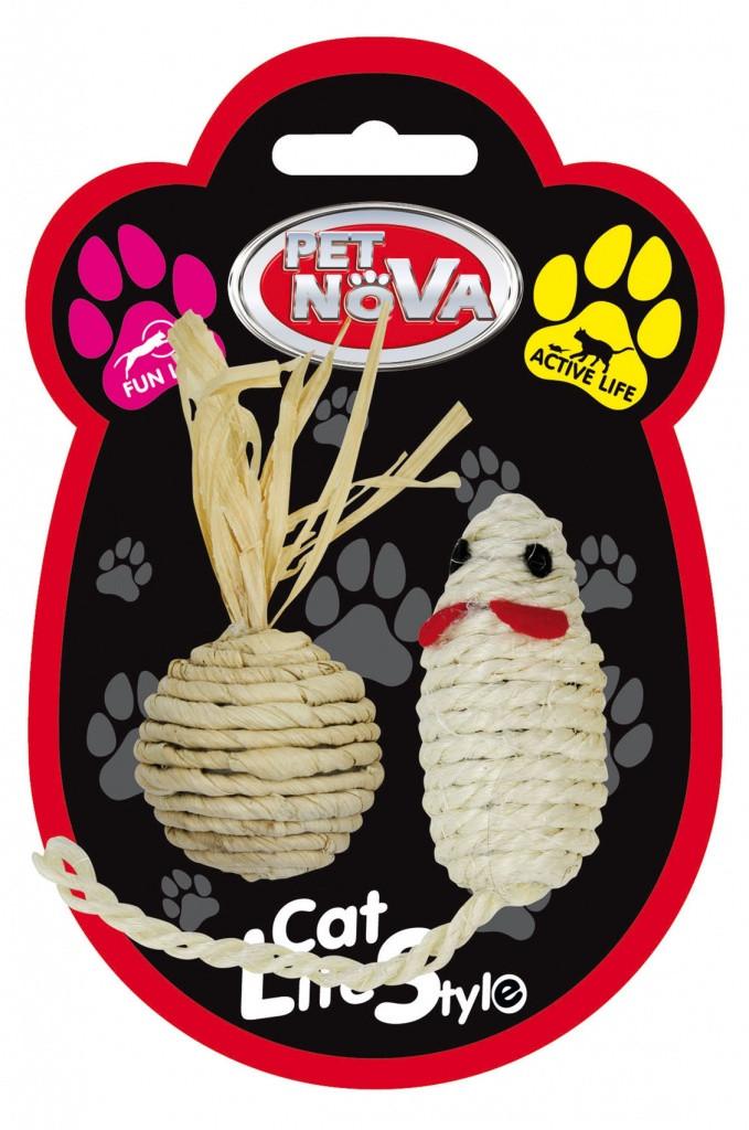 Игрушка для кошек Мышка и шар Pet Nova 7х3 см