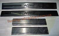Хром накладки на пороги надпись гравировка для Hyundai Accent 3 2006-2011