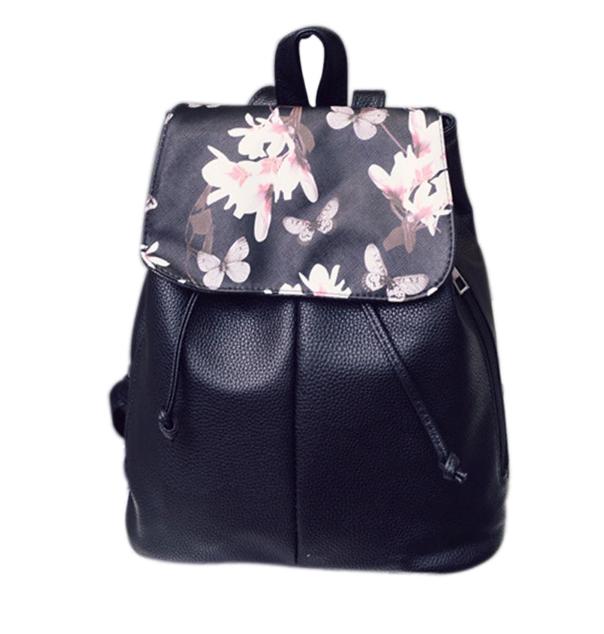 Рюкзак женский кожзам Черный цветочный