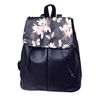 Рюкзак женский кожзам Черный цветочный, фото 1