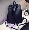 Рюкзак женский кожзам Черный цветочный, фото 5