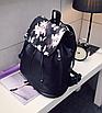 Рюкзак женский кожзам Черный цветочный, фото 4