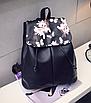 Рюкзак женский кожзам Черный цветочный, фото 3