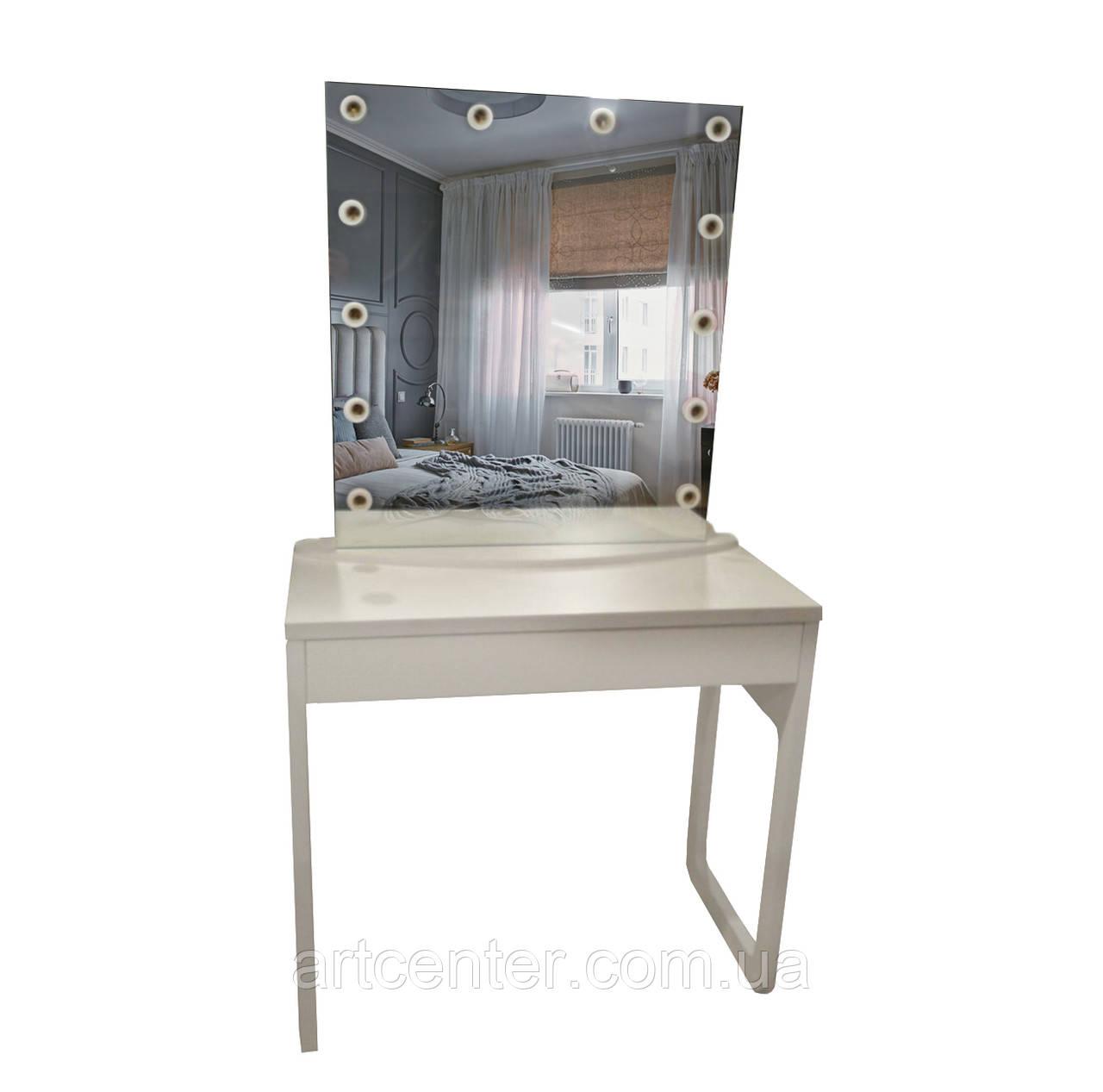 Визажный стол с зеркалом на подставке, туалетный стол с вырезом в опоре