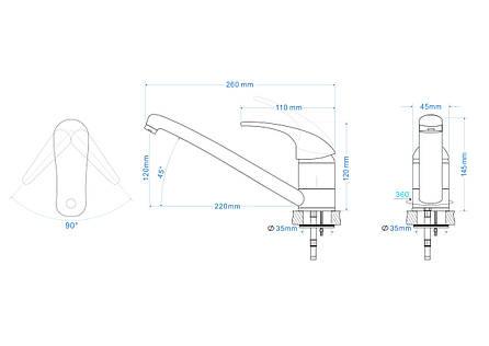 BARON смеситель для кухни однорычажный, излив 210 мм,  черн 40мм, фото 2