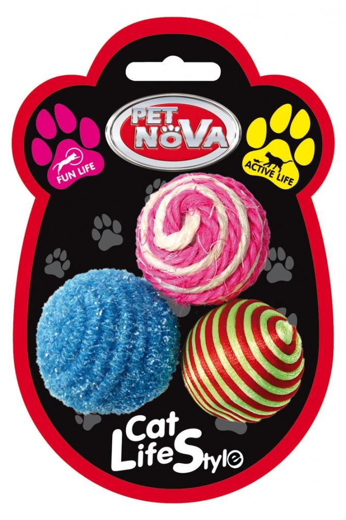 Іграшка для котів Три кулі Pet Nova 4 см