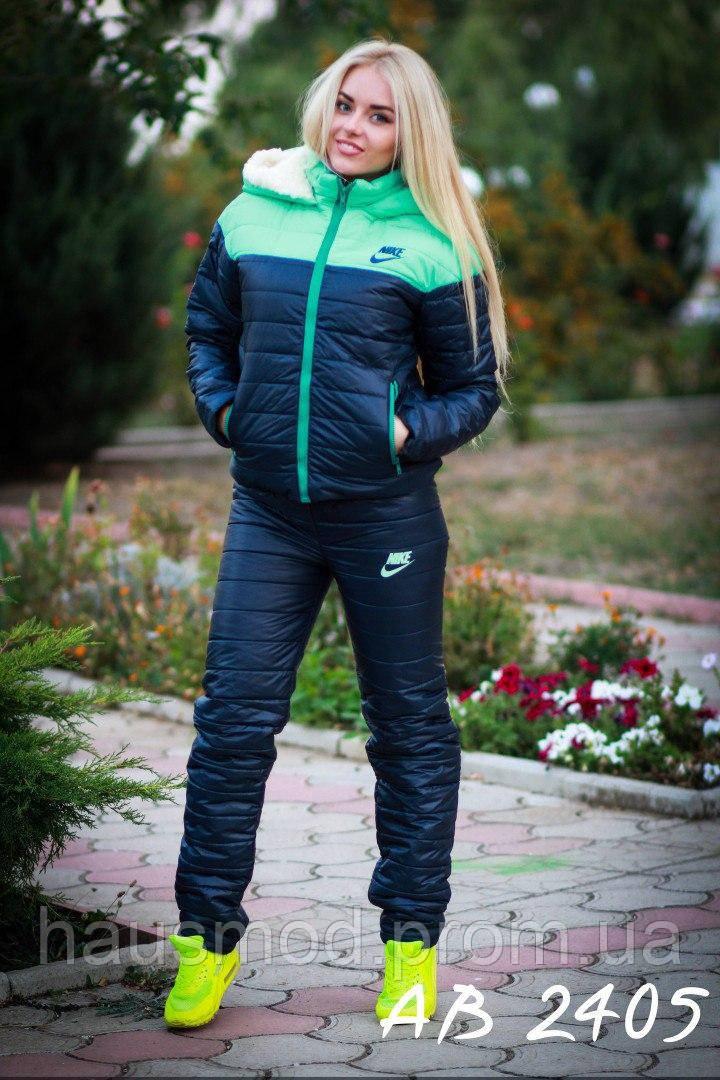 Теплый зимний женский лыжный костюм на овчинке Nike бирюза 42 44 46 48