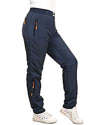 Зимние штаны плащевка, теплые брюки женские на флисе, темно синие