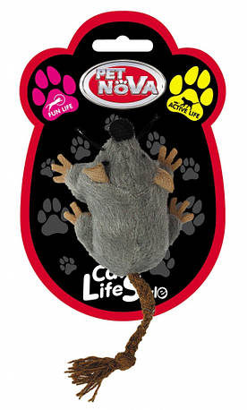 Игрушка для кошек Мышь плюшевая Pet Nova 7х5 см Серая