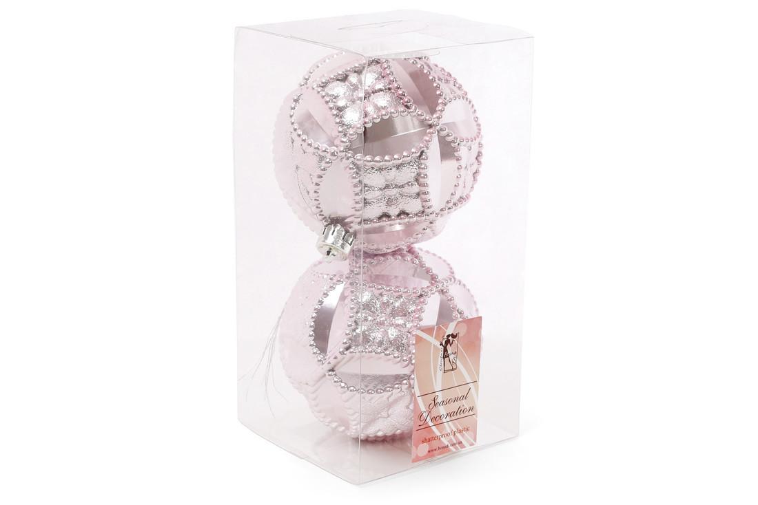 Набор елочных шаров с рельефом 10см, цвет - розовый, 2 шт: перламутр BonaDi 147-241