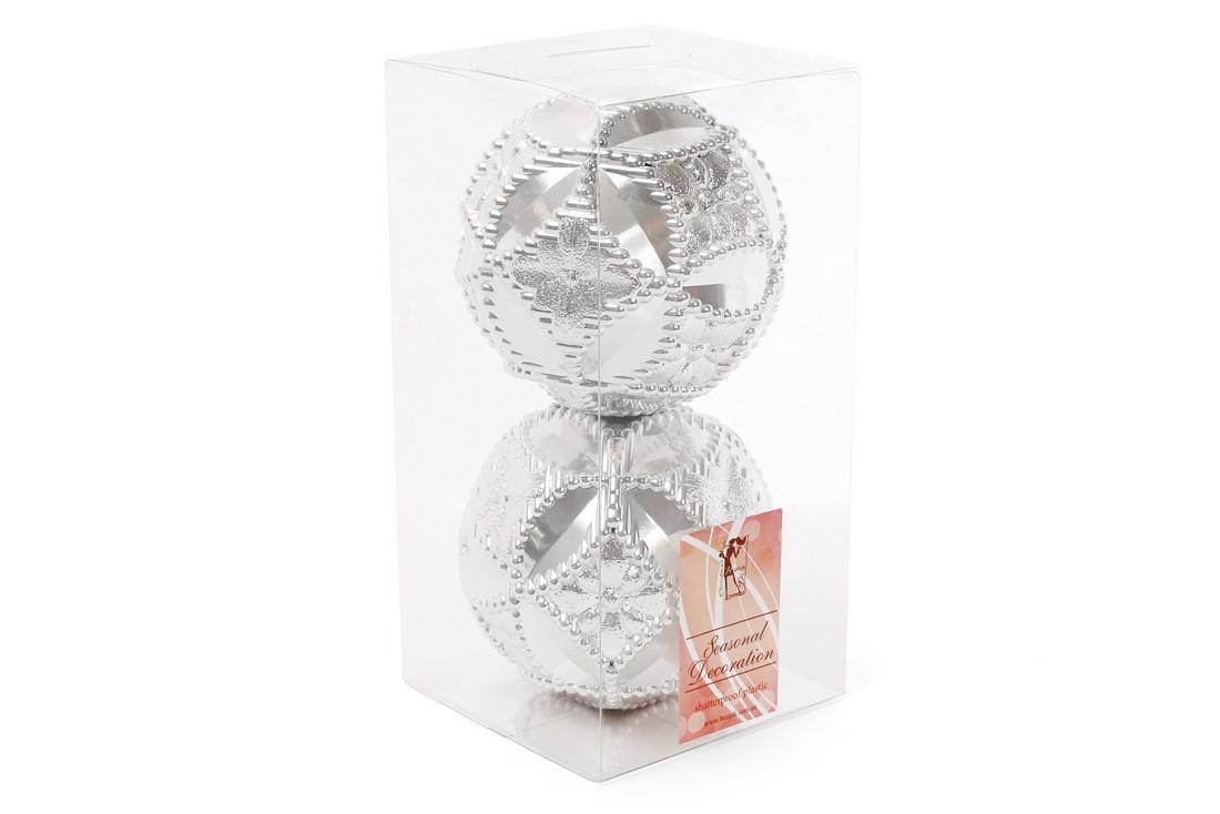 Набор елочных шаров с рельефом 10см, цвет - серебро, 2 шт: перламутр BonaDi 147-192
