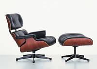 Кресло Релакс с оттоманкой, натуральная кожа, гнутая фанера, цвет черный (Relax Eames Lounge Chair)