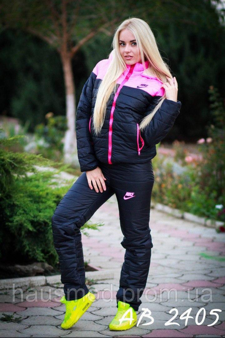 Теплый зимний женский лыжный костюм на овчинке Nike розовый 42 44 46 48