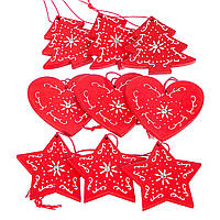 Новогодние деревянные подвески для декора 9 шт., фото 1