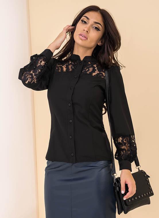 91c328ff956 Женская рубашка с кружевом черного цвета. Модель 19138. Размеры 42-46 - Irse