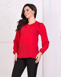 Блуза однотонная с гипюром