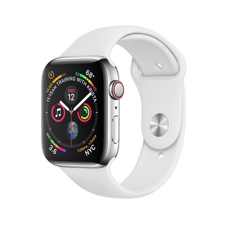 Apple Watch Series 4 44mm (GPS+LTE) Stainless Steel Case with White Sport Band