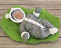 """Теплый вязанный человечек с шапкой и рукавичками""""Снежок"""" (серый) Размеры 56,62,68,74,80, фото 1"""