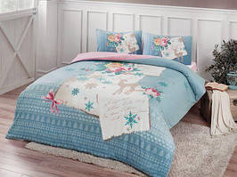 Фланелевое постельное белье Евро размера TAC Elias mavi v01 голубой