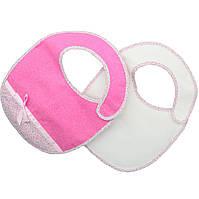 Набор слюнявчиков белый/розовый