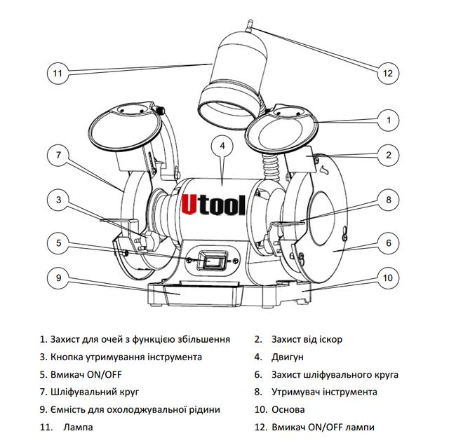 точильно-шлифовальный станок Utool UBG-200 схема