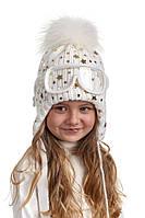 Шапка ушанка для девочки с очками натуральный помпон Nikola