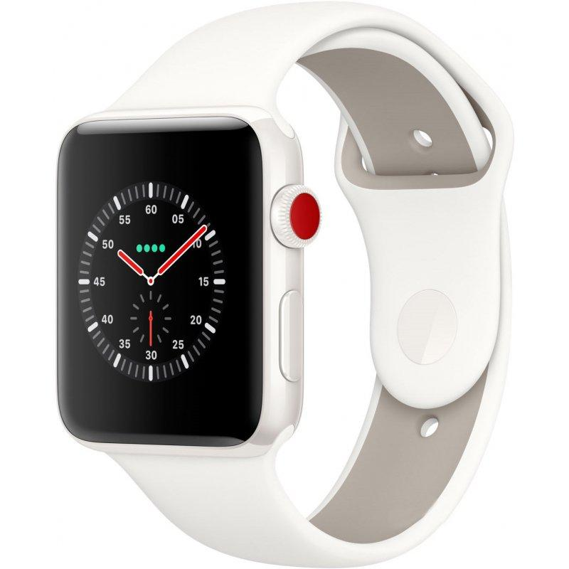 Apple Watch Series 3 42mm (GPS+LTE) White Ceramic Case with Soft White/Pebble Sport Band