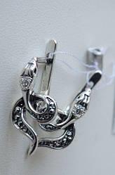 Серебряные серьги - змейки