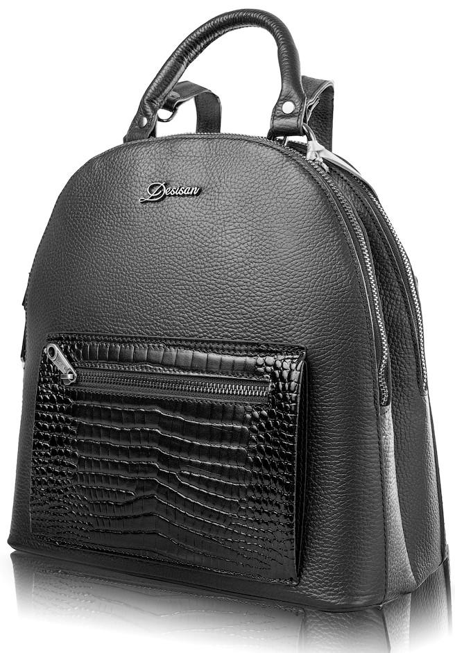 29a6698bedfd Кожаный рюкзак DESISAN SHI6001-011 чёрный, 10 л — только ...