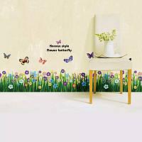 """Наклейка на стену, на окно, на витрину """"полевые цветы и бабочки"""" 1метр 60см*15см (лист 50*70см)"""
