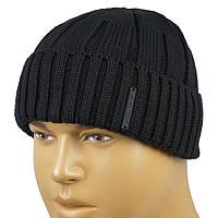 Чорна чоловіча шапка Apex RIB3 black з відворотом
