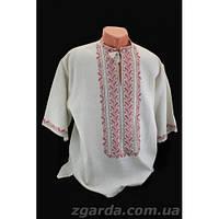 Мужская вышиванка вышита нитями розового и бежевого цвета (воротник 38-45)