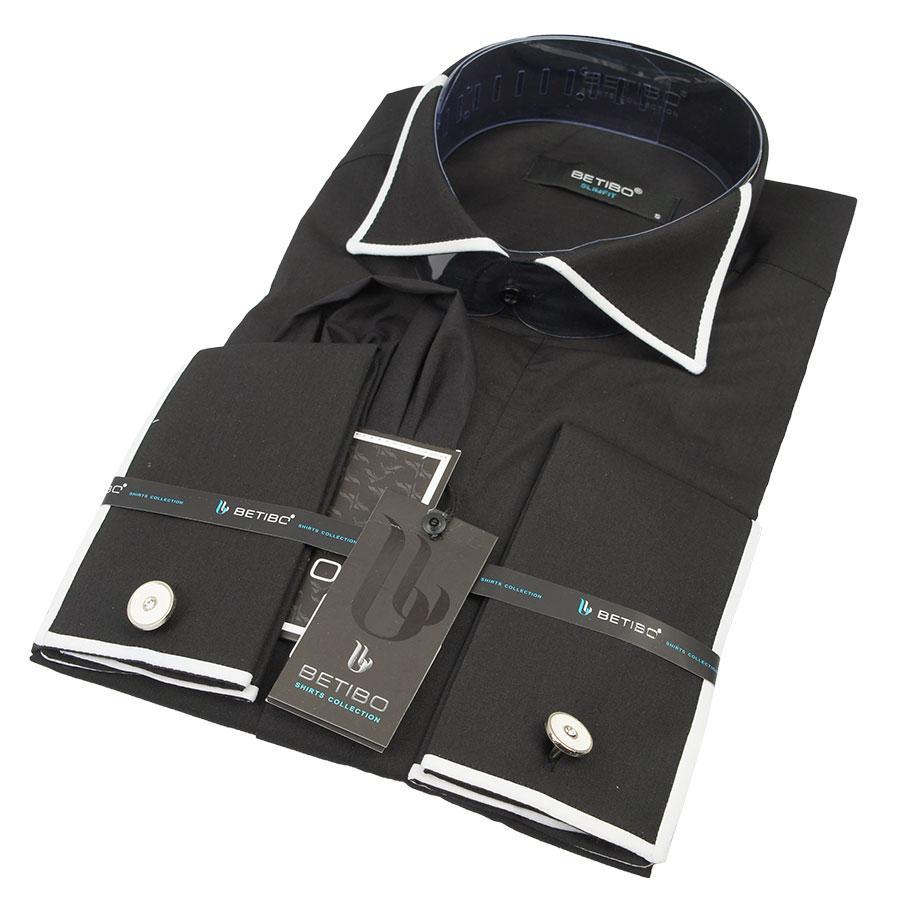 Класична чоловіча сорочка під запонку Negredo 0360 зап.+баб.чорн.